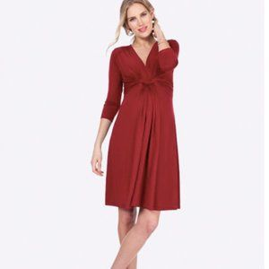 Seraphine Red Knot Front Maternity | Nursing Dress
